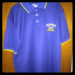 Maize Blue Michigan Wolverine Polo Shirt men large